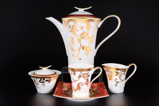 Чайный сервиз Falkenporzellan Tosca Bordeaux Gold на 6 персон